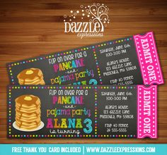 Printable Chalkboard Pancake and Pajamas Ticket Birthday Invitation   Breakfast Party   Digital File   Sleepover   Slumber Party   Flapjacks   Girls Birthday Party Idea   FREE thank you card   Party Package Available    Banner   Cupcake Toppers   Favor Tag   Food and Drink Labels   Signs    Candy Bar Wrapper   www.dazzleexpressions.com