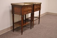 Pair of French Louis XVI Style Nightstands or End Tables | From a unique collection of antique and modern night stands at https://www.1stdibs.com/furniture/tables/night-stands/