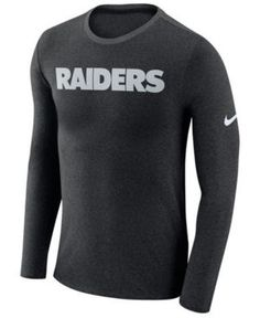Nike Men's Oakland Raiders Marled Wordmark Long Sleeve T-Shirt - Black