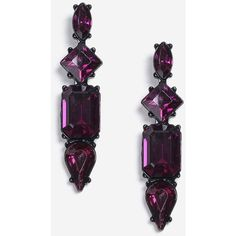 Topshop Crystal Shape Drop Earrings ($11) ❤ liked on Polyvore featuring jewelry, earrings, purple, crystal jewellery, crystal stone jewelry, drop earrings, crystal drop earrings and purple jewelry