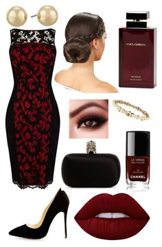 """Untitled #426"" by sofia-boubou on Polyvore featuring Karen Millen, Alexander McQueen, Napier, Chanel, Lime Crime and Dolce & Gabbana Fragrance"