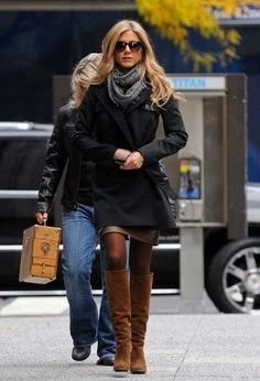 Scarf Stylish Belted Coat And Brown Long Boots
