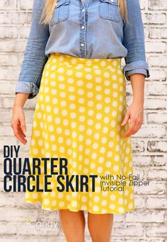 Circle skirts are flattering are so many body types and this easy 1/4 Circle Skirt is no exception. I see a lot selfish sewing and twirling in my future. Learn how to make your own DIY 1/4 circle skirt from I Candy Handmade. Related