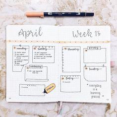 bullet journal week layout