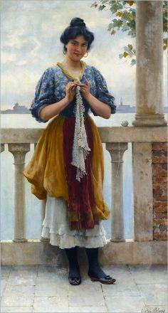 Eugen von Blaas (1843-1931) Young girl before the lagoon, Venice