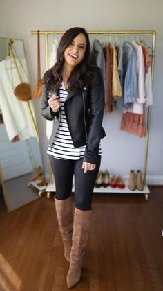 Legging Outfits, Spring Leggings Outfits, Winter Fashion Outfits, Look Fashion, Womens Fashion, Mode Hipster, Look Legging, Spanx Faux Leather Leggings, Outfits With Leather Leggings