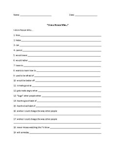 I am a Person Who Outline 1 Poetry Worksheet: