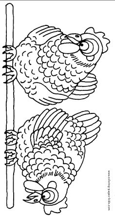 Free Rooster Pictures to Print   Chickens sitting on a stick color page.