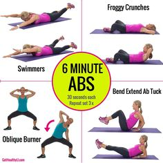 6 Minute Ab Workout will get you a strong core and flat stomach without equipment, just using your bodyweight! #fitness #workout