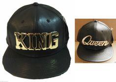 KING & QUEEN SNAPBACK CAPS BLACK METAL BASEBALL HIP HOP FITTED FLAT PEAK HAT ERA