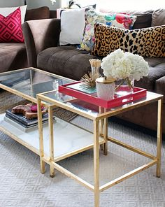 Gold Leafed Marble Ikea Vittsjo Coffee Table Hack - $55 for the ikea tables....doing this!