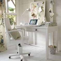 Looking for a comfy home office style? then go for cottage home office work style. Here is information about how to get the right cottage home office work style. Home Office Storage, Home Office Organization, Home Office Space, Home Office Design, Home Office Furniture, White Furniture, Home Office Decor, Office Designs, Desk Space