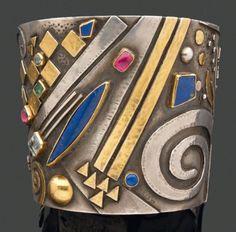 Cuff bracelet | Linda Ladurner. Silver, gold, emerald, aquamarine, tourmaline and lapis lazuli