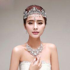 Tassel bridal crown / earrings / necklace three-piece