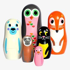 Matryoshka nesting dolls van OMM Design - animals 2