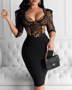 Lace Leopard Tight Waist Bodycon Dress Women Half Sleeve Lace Patchwork Sexy Party Dress Transparent Knee Vestidos, Black / S Cl Fashion, Trend Fashion, Womens Fashion, Style Fashion, Cheap Fashion, Latest Fashion, Sexy Party Dress, Sexy Dresses, Fashion Dresses