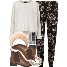 """""""Malia Inspired Outfit with Flat Brown Chelsea Boots"""" by veterization on Polyvore"""