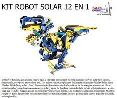 KIT ROBOT SOLAR 12 EN 1 Este robot funciona con energía solar y agua y se puede transformar en doce animales y robots diferentes (mono,  tiranosaurio, escorpió n, excavadora, etc.) Los robots pueden desplazarse fácilmente y harán las delicias de los niños. El robot hidráulico y solar 12 en 1 les enseñará a los niños todos los beneficios de las energías alternativas. No se  necesitan pilas ya que funciona con energ ía solar y agua. Se desplaza cuando le da la luz del sol directamente, y esto… Animal Robot, Movie Posters, Movies, Tyrannosaurus, Alternative Energy, Teaching Kids, Solar Power, It Works, Monkeys