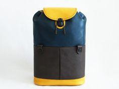 GHONGJORD   BAGS   OHNO Rucksack Yellow-Navy-Brown