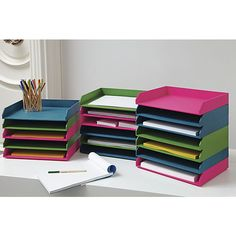 13 Fresh Office Accessories To Dress Up Your Desk *stained letter trays from Unique Office Supplies, Modern Desk Accessories, Letter Tray, Paper Tray, Office Supply Organization, Diy Letters, Office Decor, Office Ideas, Modern Furniture
