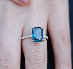 Peacock sapphire engagement ring. 3.12ct emerald cut blue green sapphire ring diamond ring 14k Rose gold ring by Eidelprecious.