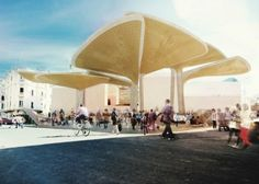 tomdavid architecten, market square casablanca, sustainable design, green design, public architecture, canopy structure, reused water, [ac-ca] competition,