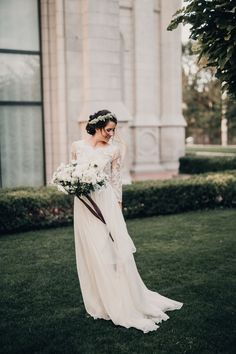 modest wedding dress with three quarter sleeves from alta moda. --(modest bridal gowns)---