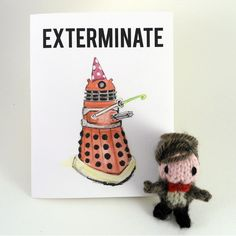 """EXTERMINATE the candles. It is your birthday. The daleks are willing to let it slide this one time.The card folds to 4-1/4"""" x 5-1/2"""" (A2)"""