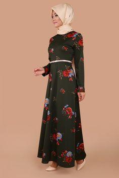 Küçük Çiçekli Kemerli Elbise Haki Ürün kodu: ZMN2210 --> 69.90 TL