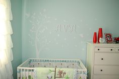 Ava's Baby Room! mint, white, red polka dots, ikea, owl, forest, tree decal :)