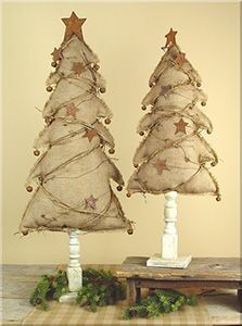 Large Burlap Trees on Base Set of Trees are 27 Inches Tall. Vintage Christmas trees made of burlap on vintage bases. Fabric Christmas Trees, Burlap Christmas Tree, Christmas Tree Painting, Christmas Sewing, Primitive Christmas, Rustic Christmas, Christmas Art, Christmas Projects, Christmas Ornaments