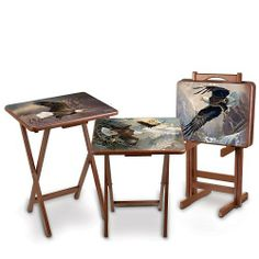 """Bald Eagle Art Wooden Tray Table Set: Ted Blaylock Canyon Masters by The Bradford Exchange by Bradford Exchange. $196.00. Each of the 4 full-color wooden tray tables in this set showcases a compelling and unique highly-sought art image of majestic eagles in flight, swooping and diving from lofty peaks to rugged canyons. Tray tables measure approximately 26-3/4"""" H x 18-1/2"""" W x 14-1/2"""" D; 70 cm H x 47 cm W x 35 cm D. First-ever bald eagle art tray table set features highly-..."""