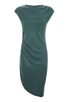 Asymmetric Drape Midi Dress