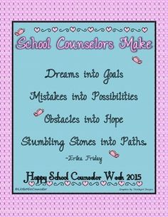 School Counseling Week Poster with Inspirational Poem National School Counseling Week, Elementary School Counseling, School Social Work, School Counselor, Counseling Posters, Anti Bullying Programs, Bookmark Ideas, Guidance Lessons, Teacher Appreciation