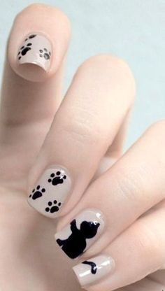 Uñas decoradas inspiradas en perritos - Dog or Cat Nail Art Design