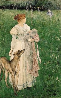 Ernest Bieler Swiss Painter (1863-1948), Lady with Greyhound