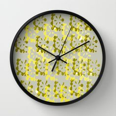 Yellow and Green Abstract Wall Clocks  by Judy Palkimas