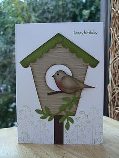 handmade card .... two-step punched bird with a bird house ... cute! ... Stampin' Up!