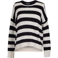 Velvet by Graham and Spencer Maddilyn Stripe Crewneck Sweater ($170) ❤ liked on Polyvore featuring tops, sweaters, striped sweater, stripe top, crew neck sweaters, black and white top and striped crew neck sweater