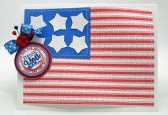 patriotic card using Ticking Stripe BG and Spring Words designed by Barb Schram
