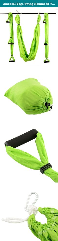 Amzdeal Yoga Swing Hammock Yoga Trapeze Sling Inversion for Gym Home Green. ★Description Color:green Material:Polyester Taffeta Size:250cm X 150cm Load Capacity:200kgs Product weight:1.303 kgs ★Package Includes 1 x long yoga cloth 1 x Packing bag 6 x foam handles 4 x Hooks 8 x Triple Retractable buckle ★Note 1.Yoga hammock hanging anchor must be strong. 2.Please check before use to see whether the yoga hammock hanging hook plate is loose or not,and extended belt for excessive wear…