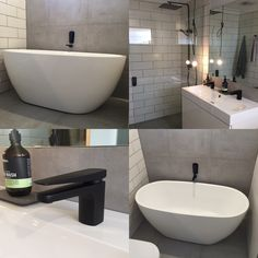 Mondella matte black tapware, wall spout and wall mixers. Meir matte black combination shower.  Modella tapware Bunnings NZ