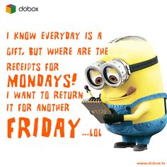 Thank God Its Friday!   Tag a Friend.  #TGIF #FunnyQuotes #Dobox #Minion #despicableme
