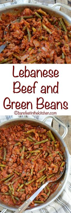 Lebanese Beef and Green Beans is a no-fuss dinner that everyone loves! get the recipe at barefeetinthekitc. Minced Beef Recipes, Ground Beef Recipes, Meat Recipes, Cooking Recipes, Healthy Recipes, Rice Recipes, Cooking Tips, Recipies, Beef And Green Beans Recipe