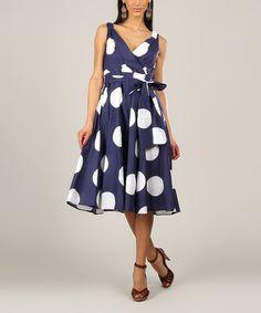 Love this Navy Dot Tie-Waist Surplice Dress on #zulily! #zulilyfinds