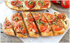 two peas and their pod have a simple recipe for caprese garlic bread! caprese garlic bread recipe by: two peas and their pod yield: serves 8 I Love Food, Good Food, Yummy Food, Great Recipes, Favorite Recipes, Amazing Recipes, Yummy Recipes, Cooking Recipes, Vegetarian Recipes