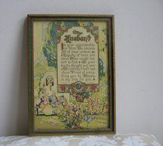 Antique Buzza Motto My Husband 1924 Wall Art by vintagenowandthen