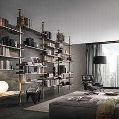 #rimadesio zenit bookcase with a palladio aluminium frame and rete bronzo glasses