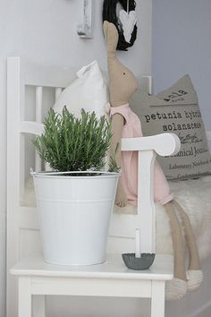 Bench with rosemary ~ Spray paint a galvanized pail!