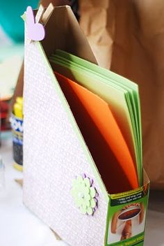 magazine/paper holder from cereal box